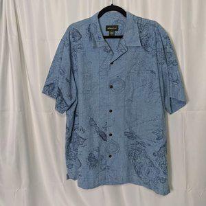 Eddie Bauer Mens L Short Sleeve Shirt Globe Map